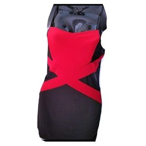 Black Red Criss Cross Fitted Formal Sheer Dress